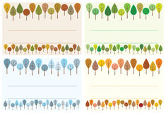 Trees label set. Illustration of four colorful labels with trees stock illustration