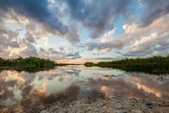 Trees, Lake And Clouds During Golden Hour Royalty Free Stock Photo
