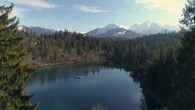 Between Trees Lake Mountain Aerial 4k stock video
