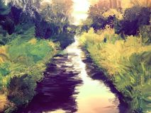 Trees and lake oil painting image royalty free illustration