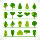 Trees large set flat grass stock illustration