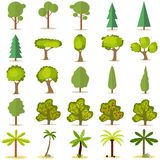 Trees, a large set of trees. Christmas tree, fruit tree, palm tree Royalty Free Stock Photography