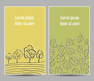 Trees and leaves cards Royalty Free Stock Image