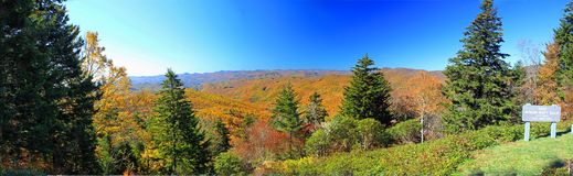 Blue Ridge Mountains in the fall. Trees and leaves changing colors in the Blue Ridge Mountains of North Carolina Stock Image