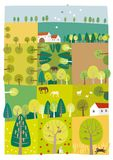 Trees for life. Vector illustration of a landscape with a lot of trees bringing a life Stock Images