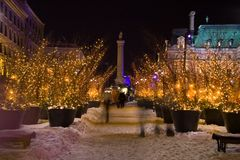 Trees of light. Montreal's Place Jacques Cartier during the High Lights Festival royalty free stock photography
