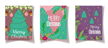 Free Trees Lights Flower Celebration Merry Christmas Posters Stock Photos - 163885143
