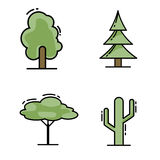 Trees line icon set Royalty Free Stock Image
