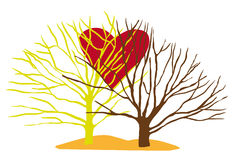 Trees with love heart. Two coloured trees with red big love heart between Royalty Free Stock Photography