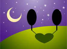 Trees in love at night Royalty Free Stock Photo