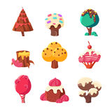 Trees Made Of Sweets Set Stock Photography