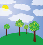 Trees on meadow illustration. Illustration with trees and cloudy sky Stock Photography