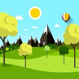 Trees on Meadow with Mountains. On Background Vector Illustration