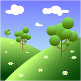 Trees in the meadow. Vector illustration,Trees in the meadow .Isometric Stock Images