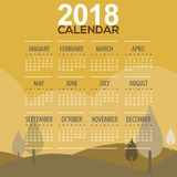 2018 Trees Mountain Landscape Yellow Color Tone Printable Calendar Starts Sunday. Vector Illustration Stock Photos