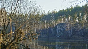 Trees on mountain river Chusovaya in siberia, Ural, Russia stock video