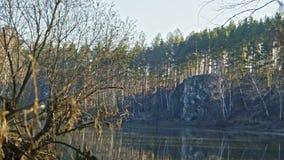 Trees on mountain river Chusovaya in siberia, Ural, Russia. Slider, 4k stock video