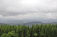 Trees and mountain under the dark sky. Top view of the trees and small mountain under the dark sky Stock Photos