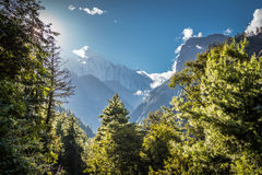 Trees, mountains and clouds at sunset. View from the trekking at Annapurnas circuit, Nepal Royalty Free Stock Image