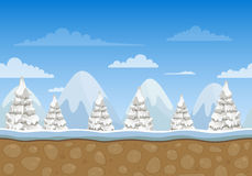 Trees and Mountains. Illustration of an Unending Winter Landscape Background with Trees and Mountains Stock Photography