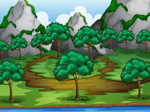 Trees and moutains. Illustration of trees and moutains in a beautiful nature Stock Images