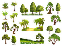 Trees, nature forest. Trees, nature, forest, vector icons set stock illustration