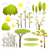 Trees nature landscape objects clip art collection Stock Photos