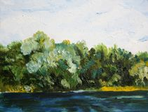 Trees near the water oil painting Stock Image