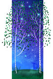 Trees, night sky Royalty Free Stock Images