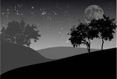 Trees and night sky with moon Royalty Free Stock Images