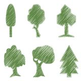 Trees, oak, spruce, bush, willow, symbolic icons Royalty Free Stock Photo
