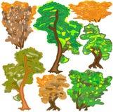 Trees och buskar i hösten Arkivbild
