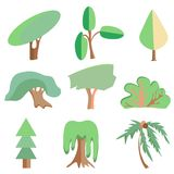 Trees, palm, oak, spruce, bush, willow, symbolic Royalty Free Stock Images