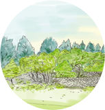 Trees in Park with Cornwall Oval Watercolor Royalty Free Stock Photography