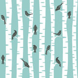 Trees pattern. Seamless  pattern with trees and birds Stock Image
