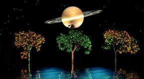 Trees and planet Royalty Free Stock Photo