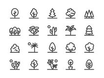 Trees, Plants Line Icon. Vector Illustration Flat style. Included Icons as Fir Tree, Palm, Park, Desert Cactus, Bush vector illustration