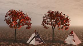 Trees and pyramids orange Stock Images