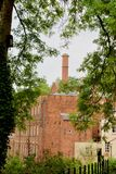 Through the trees. Quarry bank mill wilmslow Cheshire England united kingdom royalty free stock images