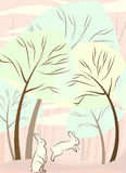 Trees and rabbit vector Stock Photos