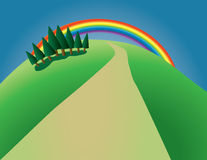 Trees and rainbow. Hill with trees and rainbow Stock Photography