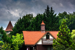 Trees and red-roofed buildings in Helen, Georgia. Royalty Free Stock Image