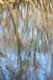 Kishwaukee River background. Trees reflect off the surface of the Kishwaukee River in northern Illinois Stock Photo