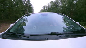 Trees reflected in car window. Windshield reflection. Car driving on a Country road. stock video footage