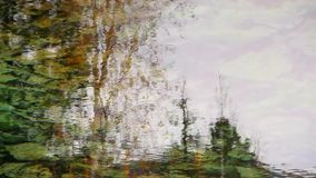 Trees reflected in the lake in the fall. Trees reflected in the clear water of the lake in the fall stock video footage