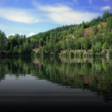 Trees reflecting in the dark lake Royalty Free Stock Photography