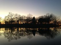Trees Reflecting in Water Surface during Sunset in Winter. Royalty Free Stock Photo