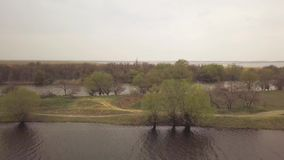 Trees on river shore and cape river on background cloudy sky drone view. Aerial view from flying drone over promontory river stock video footage
