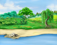 Trees by the River in a Summer Day Royalty Free Stock Image