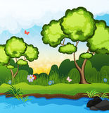 Trees on the riverbank Royalty Free Stock Image